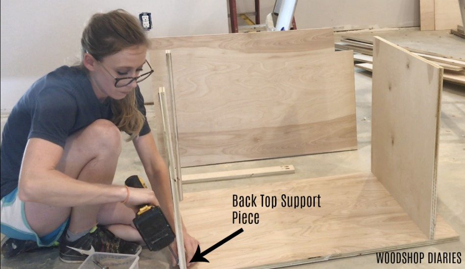 Attach Back Top Support Piece To Diy Kitchen Cabinet Carcass