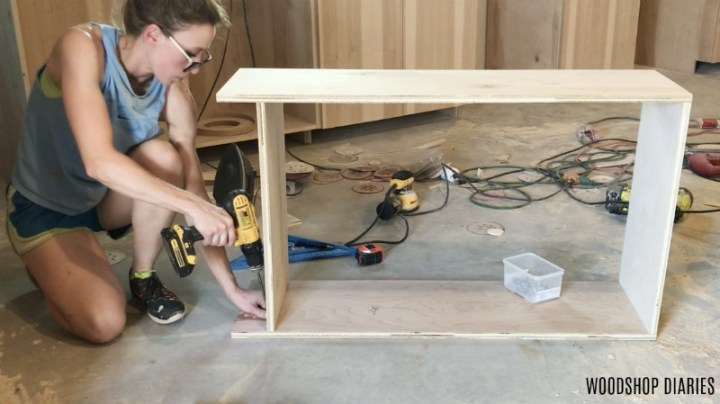 Shara Woodshop Diaries assembling kitchen cabinets