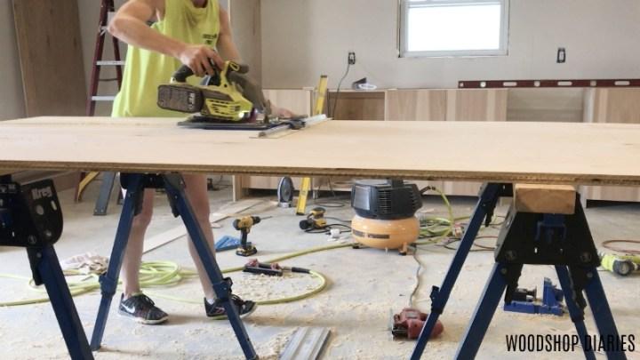 Shara Woodshop Diaries using Kreg Rip Cut to trim down plywood sheets