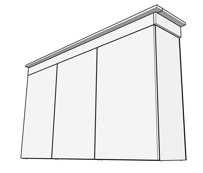 Modern upper cabinet trim diagram