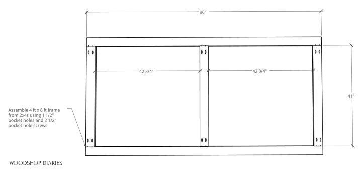 2x4 frame diagram assembled with pocket holes and screws