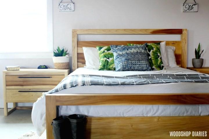 Modern poplar bedroom set with Danish oil finish applied--Finished raw wood furniture in Danish oil