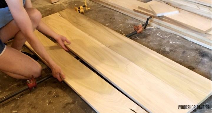 Glue up head board panel of DIY modern bed frame