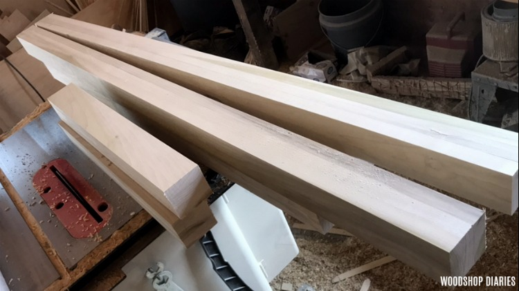 Bed posts ready for assembly