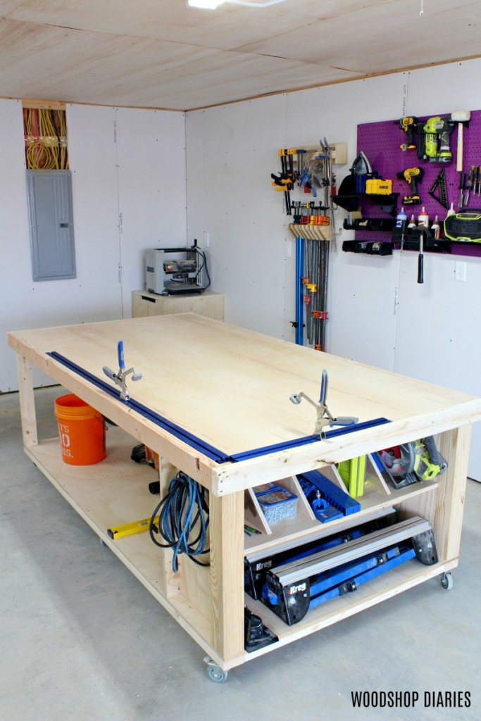 DIY Mobile Workbench with storage rack on one end is a great way to improve workshop organization