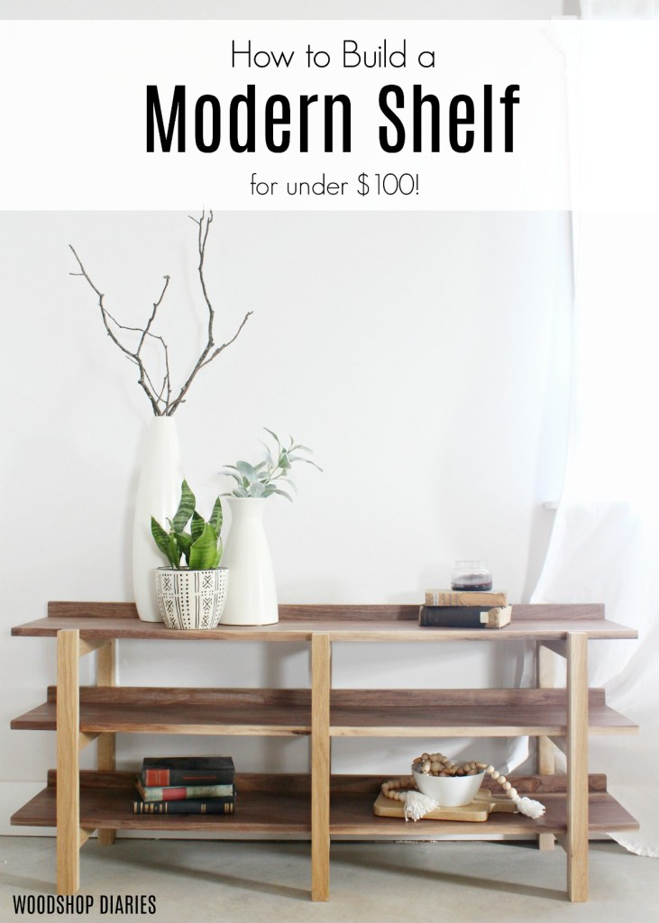 How to Build this Modern Contemporary DIY Shelf from $100 or less in Materials--Walnut and White Oak Modern DIY Shelf