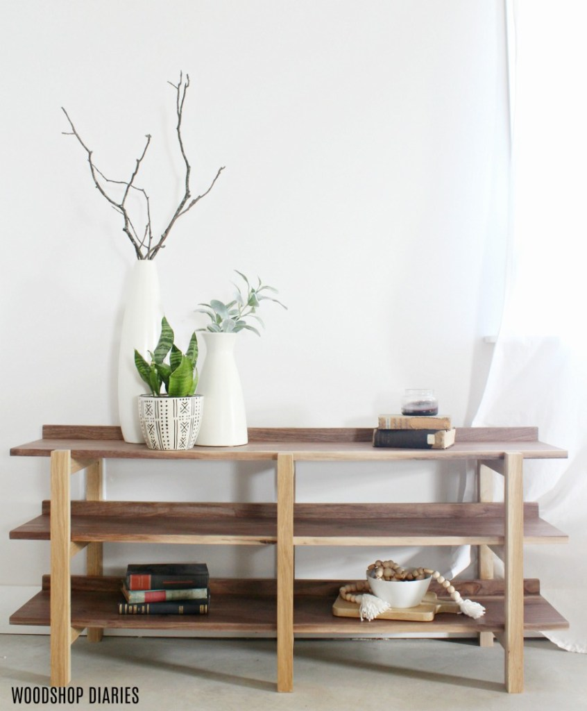 Build Your Own Modern Bookshelf DIY Console Table Stacked Shelf