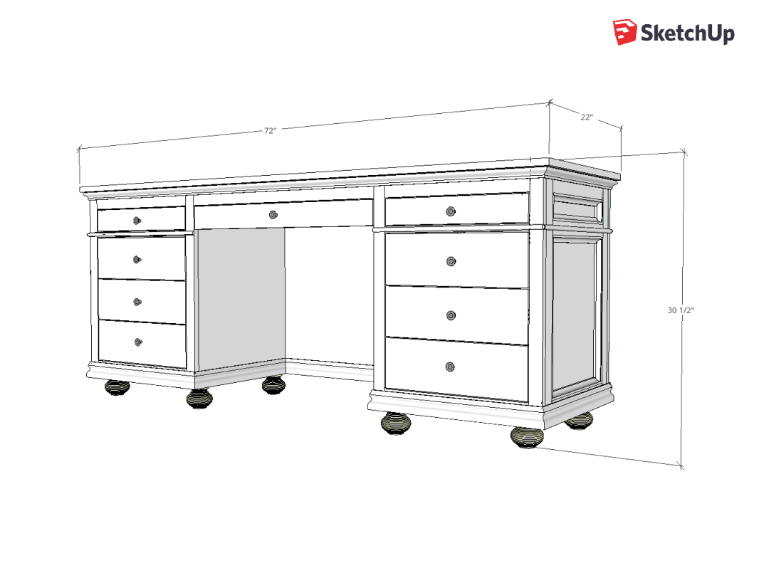 9 Drawer Storage Desk Sketchup