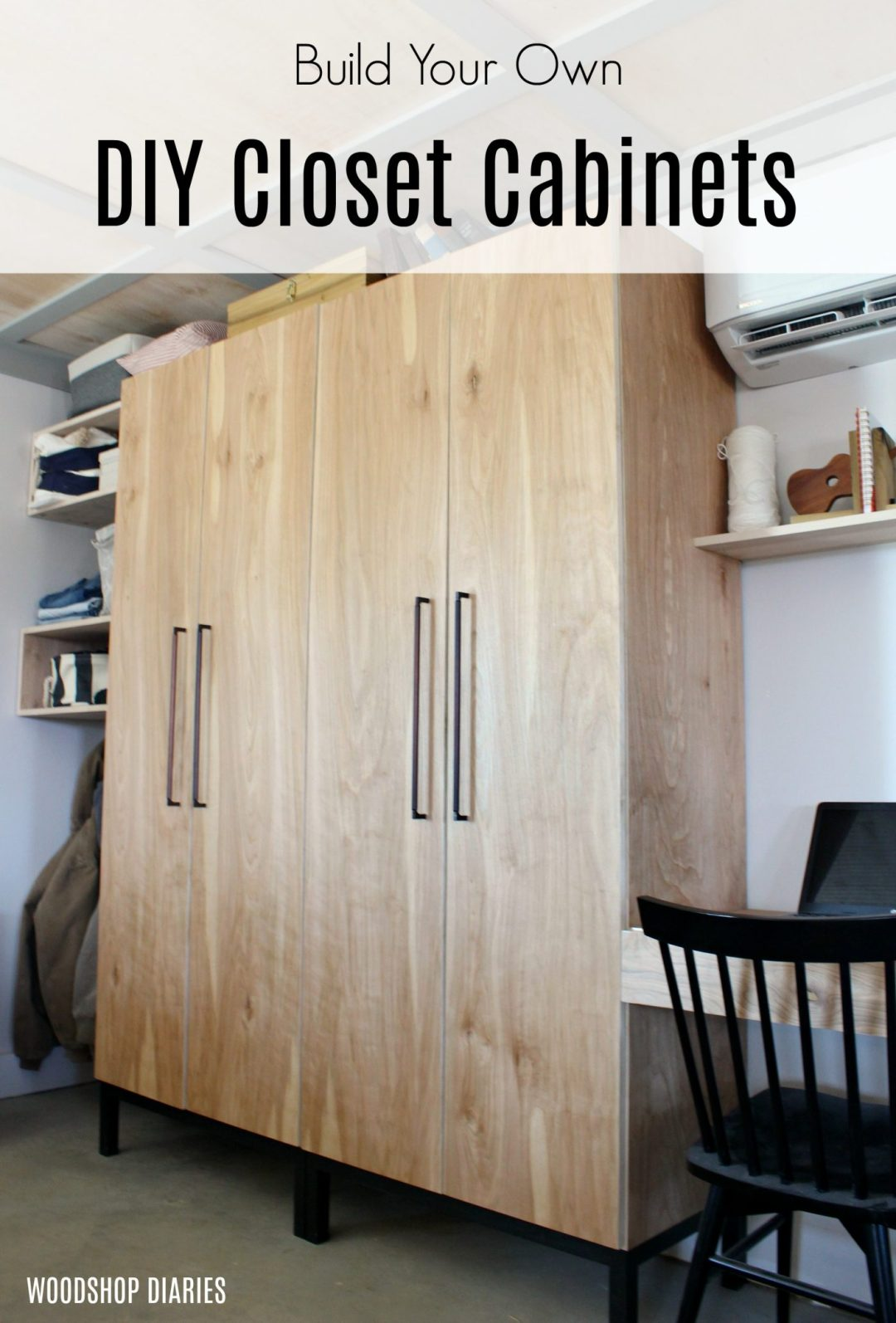 How to Build a DIY Closet Cabinet--With Closet Rod, Shoe Shelf, and Adjustable Shelves