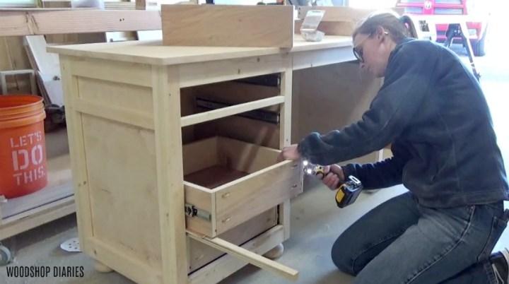 Installing drawer boxes onto drawer slides of diy storage desk