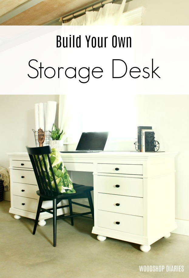 DIY Storage Desk For Home Office --Building Plans and Tutorial on plans for garage, plans for sofas, plans for office desk, plans for wall units, plans for great room, plans for laundry rooms, plans for education, plans for powder room, plans for bar,