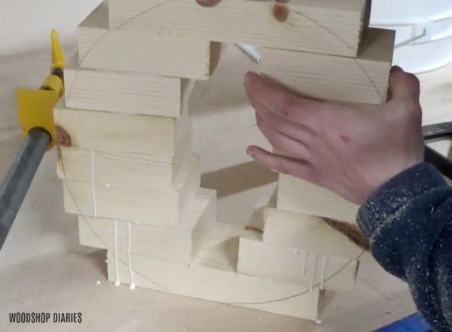 DIY Concrete planter pot with wooden base glue up