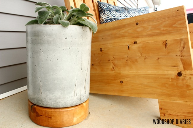 DIY Concrete Planter Pot with Wooden Base Tutorial