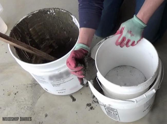 work concrete around concrete planter mold