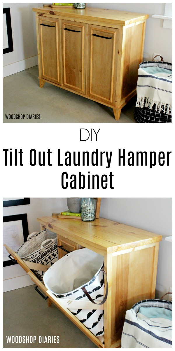 DIY Tilt Out Laundry Hamper Cabinet  Learn How To Build Your Own Laundry  Hamper