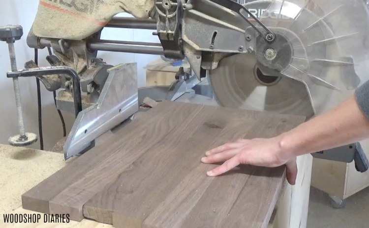 Trimming board edges with miter saw DIY serving Tray with handles
