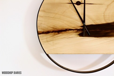 Metal and Wood DIY Industrial Wall Clock close up small