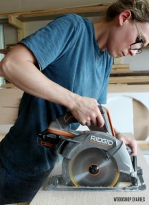DIY Linen Cabinet Cutting Plywood Ridgid Saw