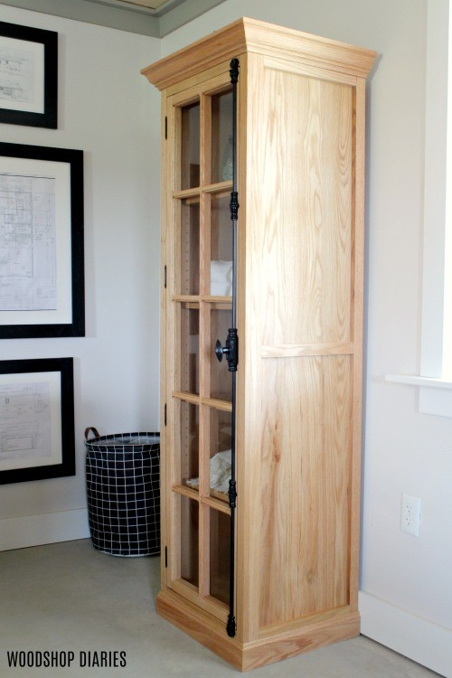 DIY Linen Cabinet with glass door open