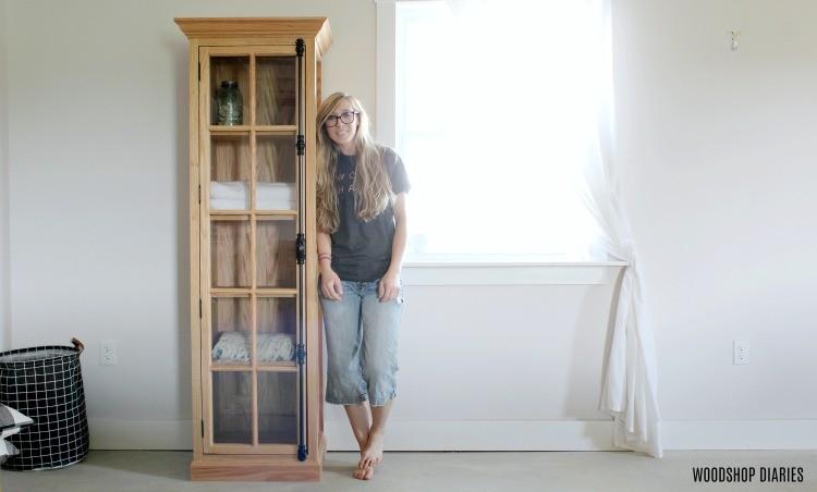 Diy Linen Cabinet With Glass Door Plans And Tutorial