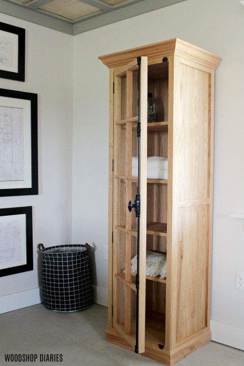 How to Build a DIY Linen Cabinet with Glass Door Woodworking Plans and Video Tutorial