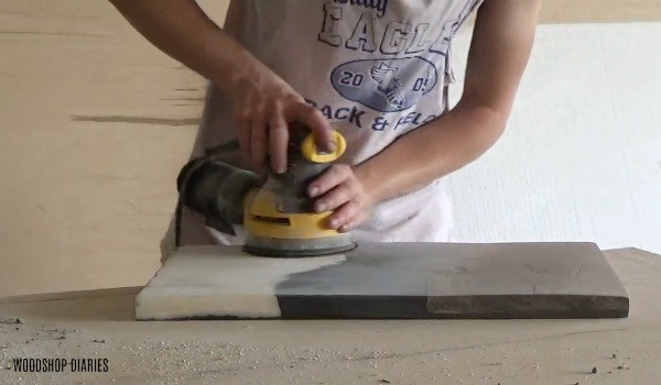 Sanding DIY Resin Wood and Marble Tray