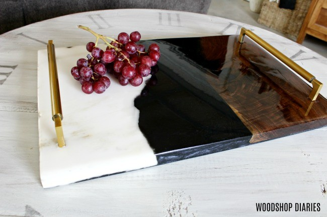 DIY Walnut Resin and Marble Tray Horizontal Beauty Shot