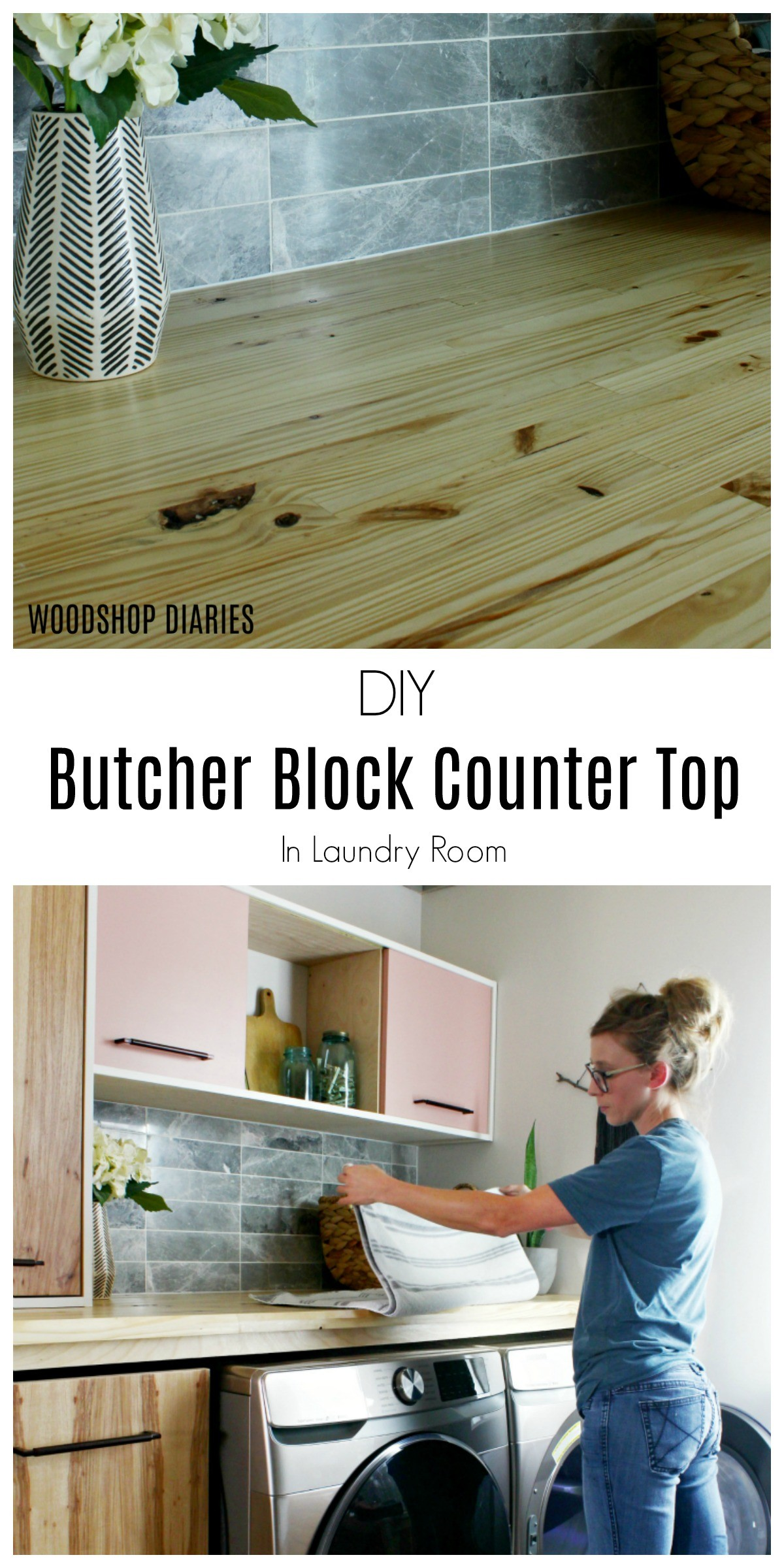 DIY Butcher Block Counter Top in Laundry Room--A Step by Step Tutorial
