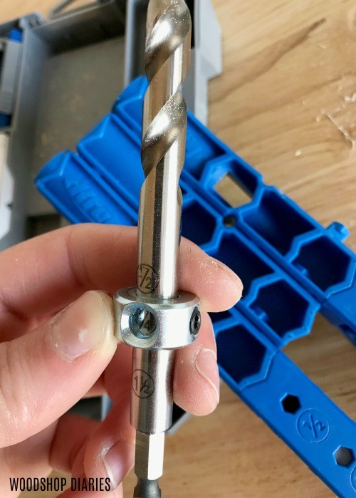 Collar adjustments on pocket hole jig bit