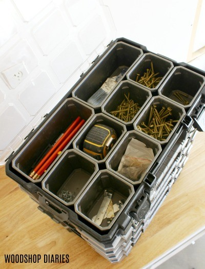 Store small parts in organizers