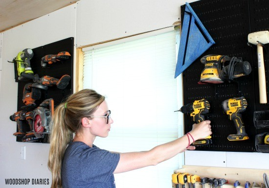 Hang high use tools on the wall for easy accessibility for better workshop organization
