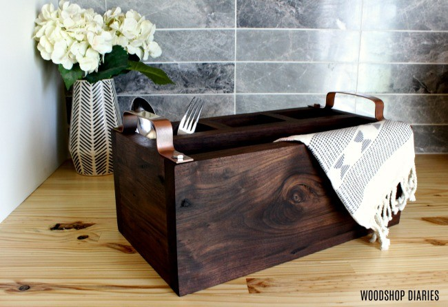 Simple modern DIY wooden flatware caddy box with metal handles