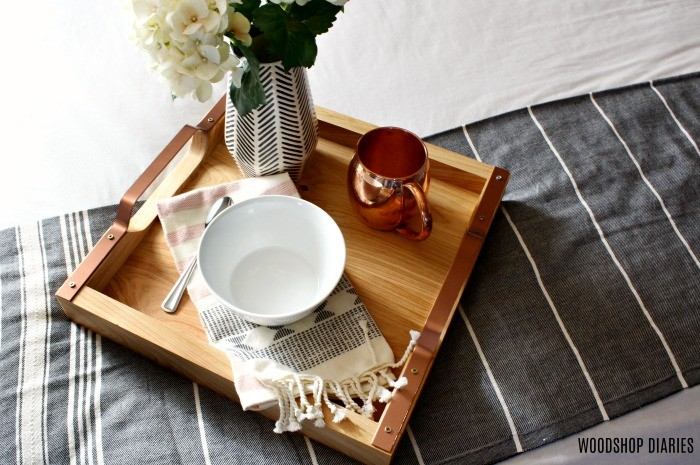 square breakfast tray with bowl for serving