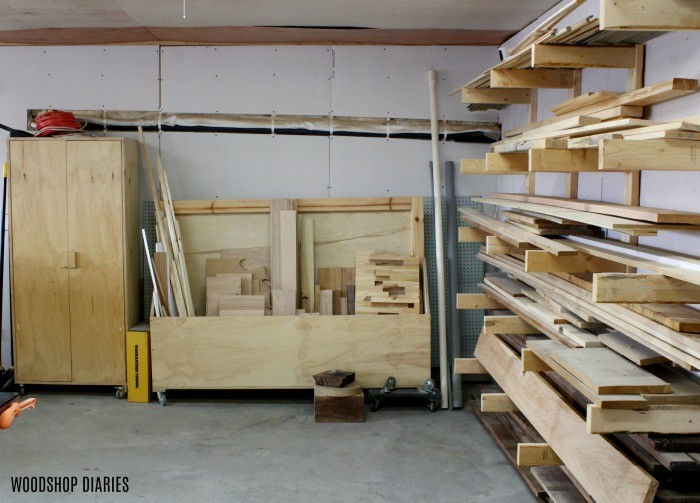 Lumber rack in woodworking workshop tour