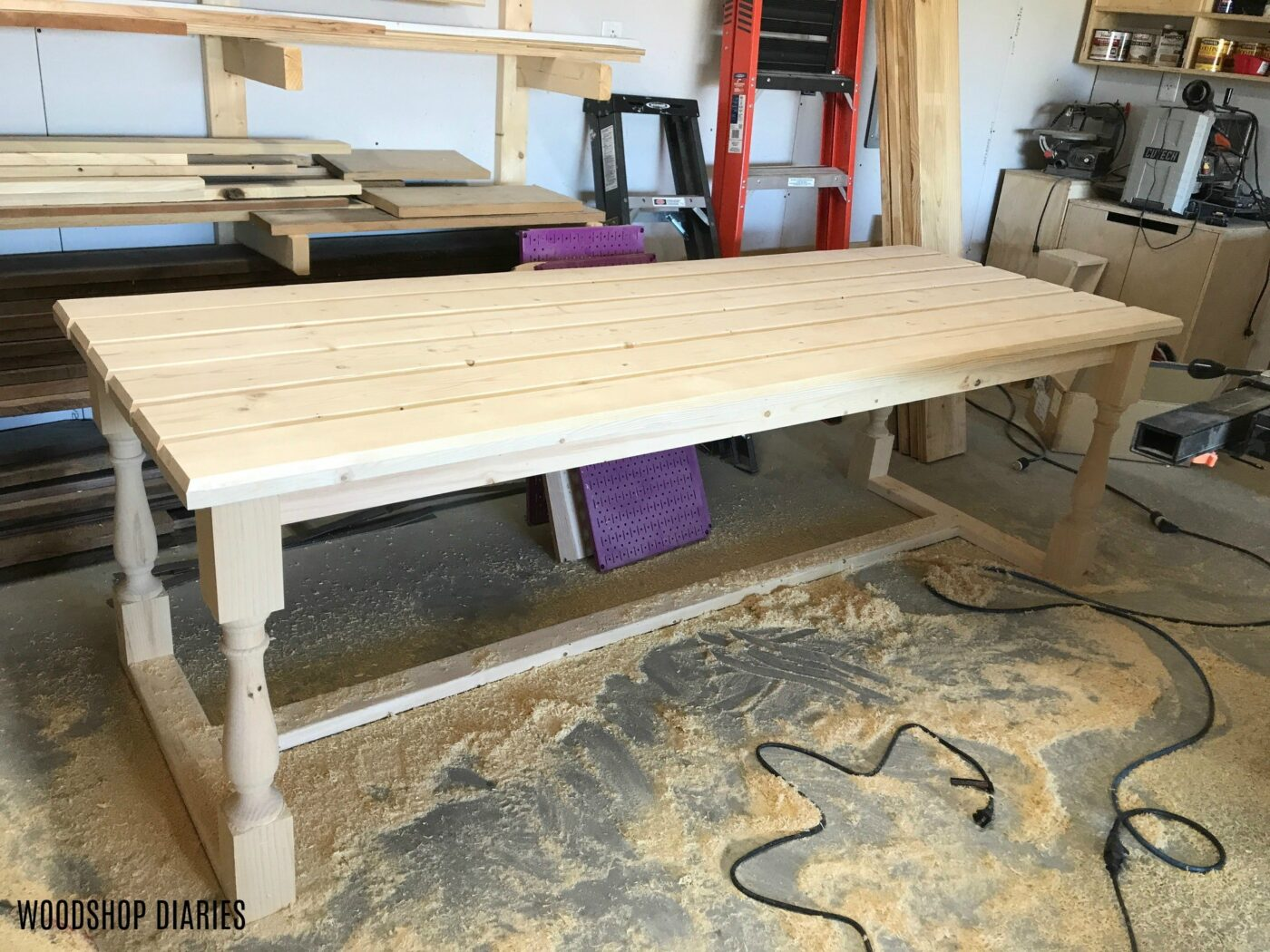 Unfinished DIY outdoor dining table
