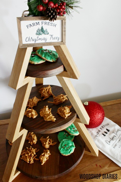 DIY Tiered Plate Stand to display Christmas candy