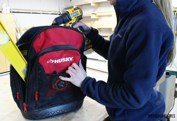 Shara packing on the go Husky Backpack with tools