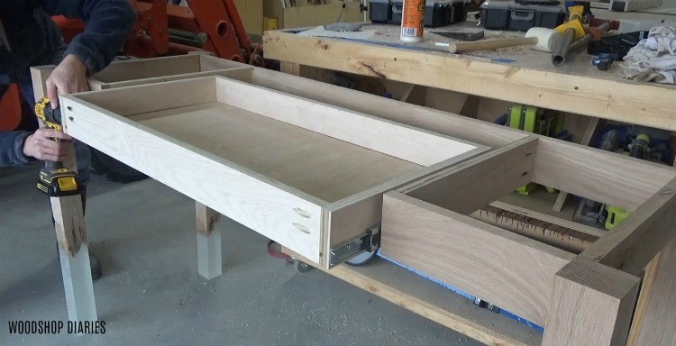 Installing drawer onto DIY desk