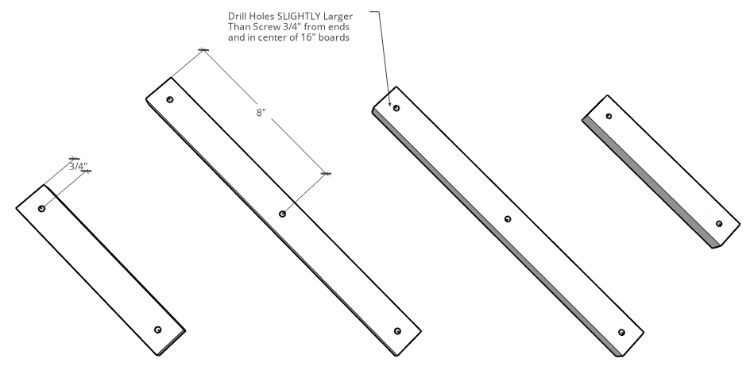Hole locations for DIY accordion coat rack