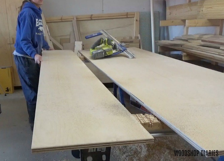 Cut down plywood into strips to build DIY mobile lathe stand
