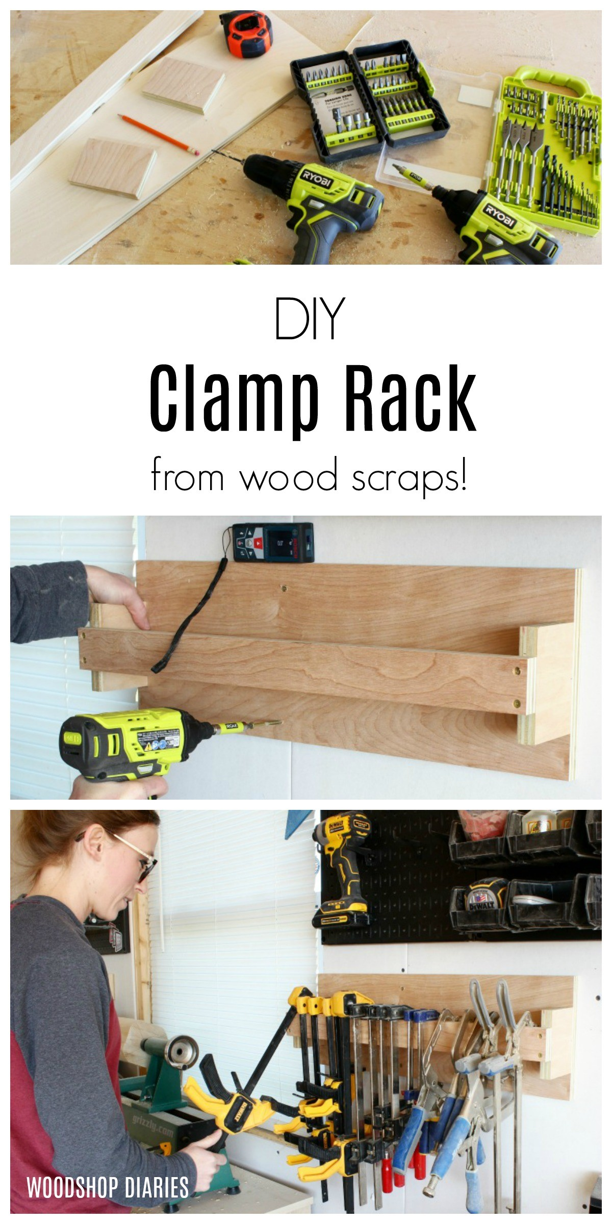 How to make a SIMPLE DIY CLAMP RACK from scraps and just a few screws!  Get your workshop organized!