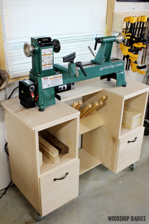 DIY Mobile Wood Lathe Stand with drawers and chisel shelf