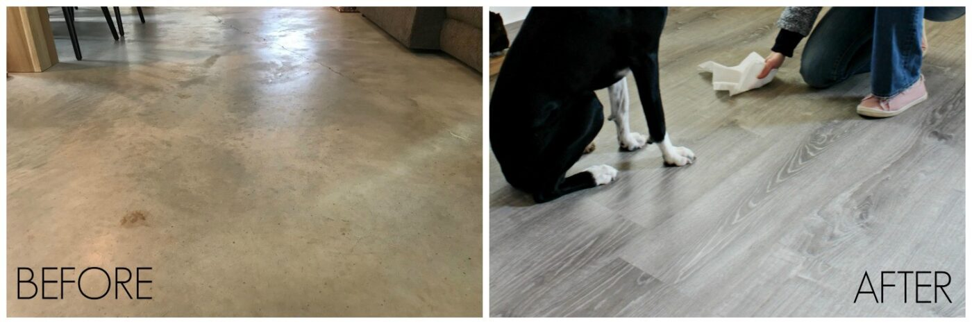 Before and after bare concrete floors vs LifeProof Vinyl plank flooring