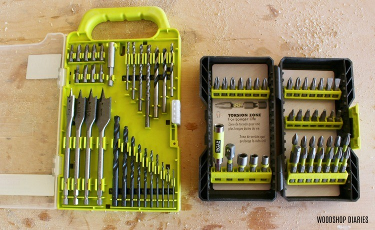Ryobi drilling and driving kits used in this project