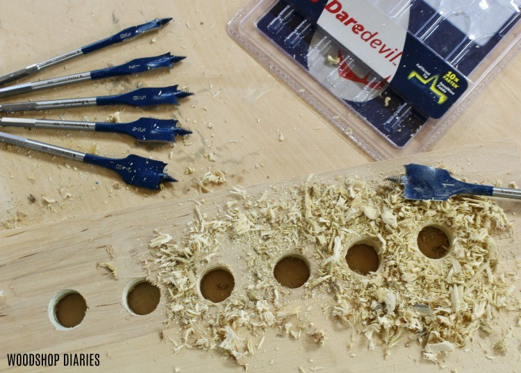 bosch daredevil spade bit set drills clean holes into plywood