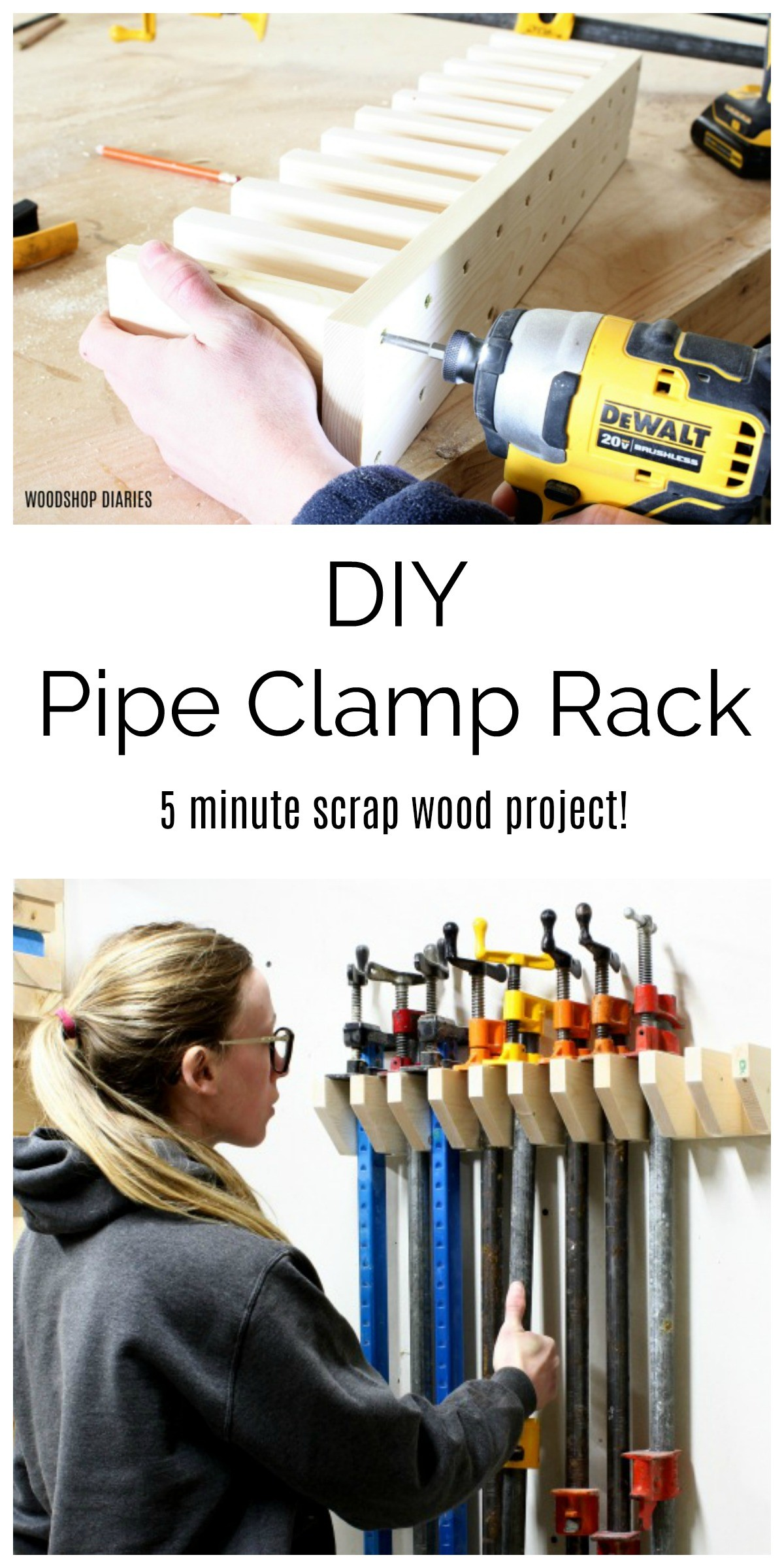 DIY Pipe Clamp Rack Collage Pinterest Image