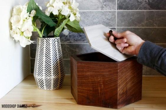 DIY Continuous grain walnut box with tile top
