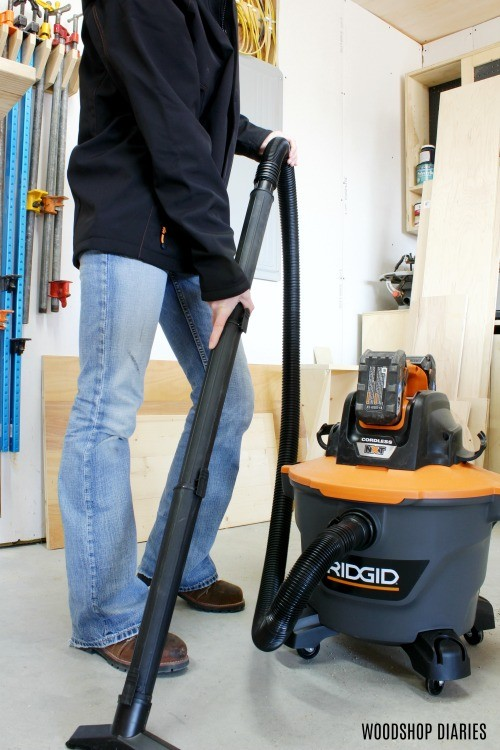 Shara woodshop diaries with ridgid cordless shop vacuum cleaning shop floor