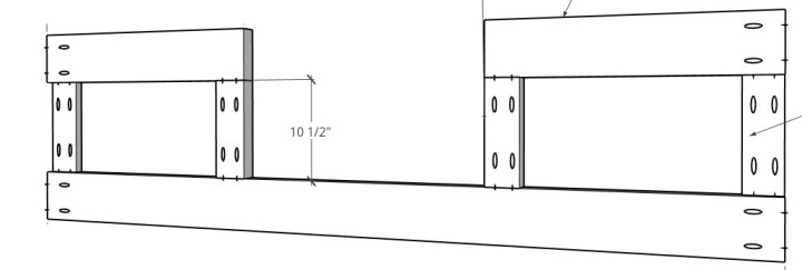 3D diagram of front frame of house bed