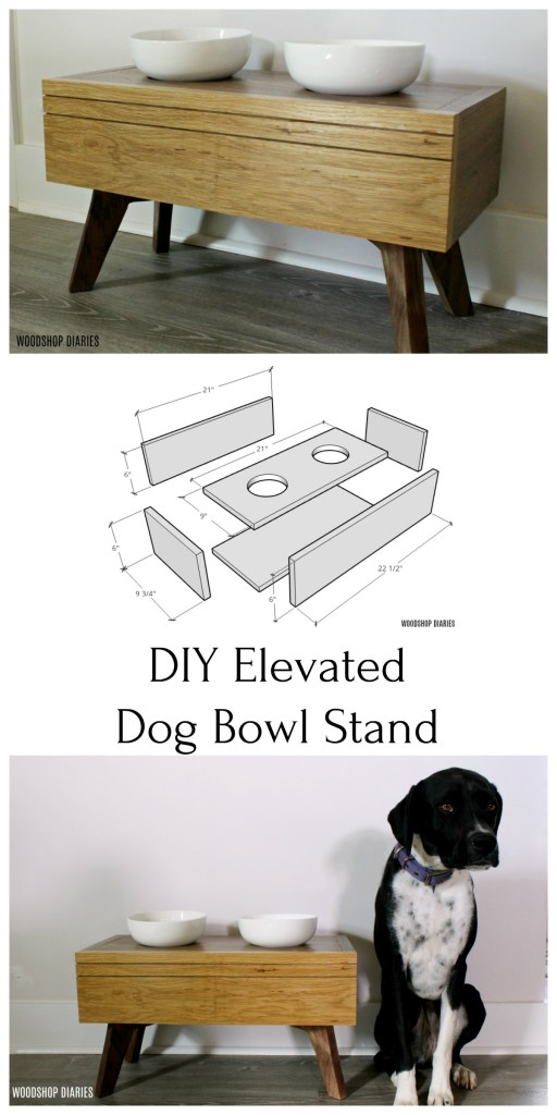 DIY Elevated Dog Bowl Stand Pinterest collage image with Lucy posing next to food bowl